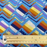 Cotton Poplin - Zigzag Diamonds - Blue Multi