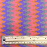 Cotton Poplin - Chevrons - Lilac / Coral