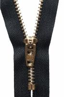Brass Jeans Zip - 10cm / 4in - Black