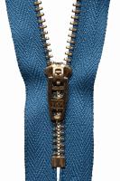 Brass Jeans Zip - 10cm / 4in - Slate Blue