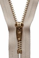 Brass Jeans Zip - 10cm / 4in - Beige