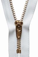 Brass Jeans Zip - 10cm / 4in - White