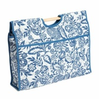 Craft Bag with Wooden Handles - Blue Floral (Groves Hobby Gift)
