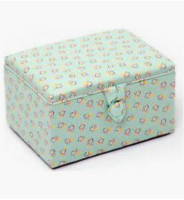 Sewing Box - Stool Style - Medium - Mint Floral (Groves Hobby Gift)