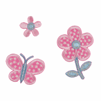 Motif - Butterfly and Flowers - Pink (Three)