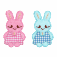 Motif - Bunnies - Pink & Blue Checked (Two)