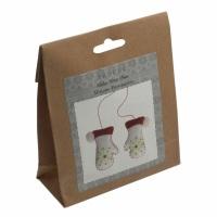 Felt Decoration Kit: Christmas: Pair of Mittens (White)