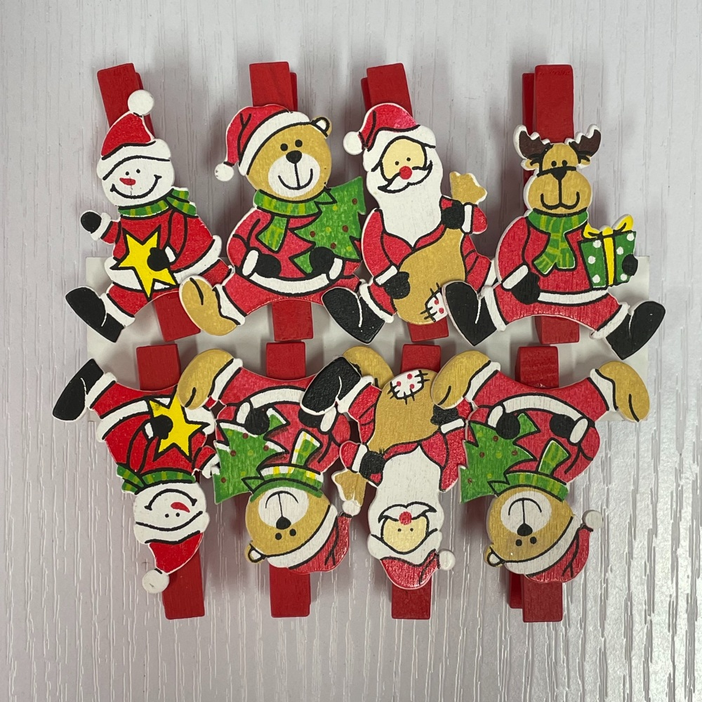 Christmas Clothes Pins - Santa & Friends
