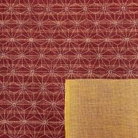 Sevenberry Japanese Fabric - Asanoha Hemp Leaf Stripe - No. 88500 Colour: 2 - 3 (Red / Tan)