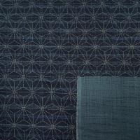 Sevenberry Japanese Fabric - Asanoha Hemp Leaf Stripe - No. 88500 Colour: 2 - 1 (Indigo)