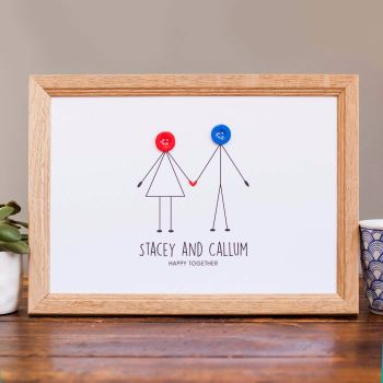 personalised happy couple print (unframed)