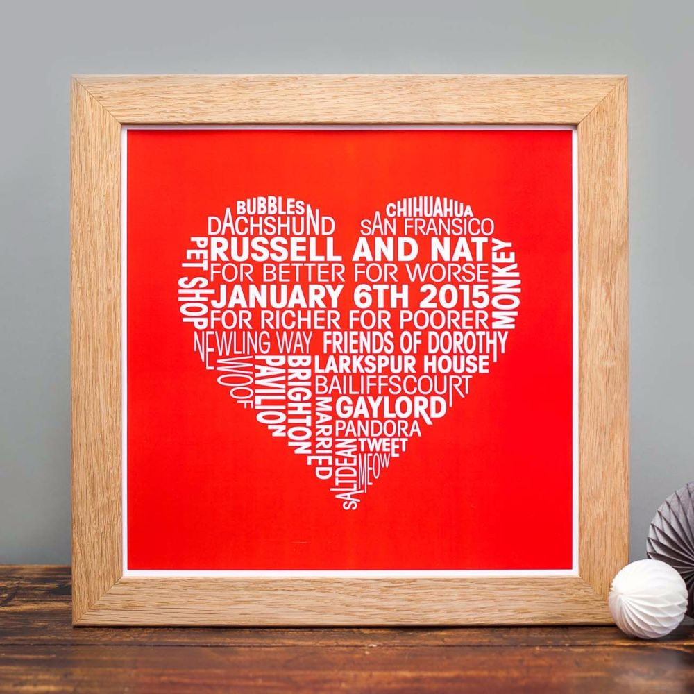 red background love heart personalised print for wedding anniversaries