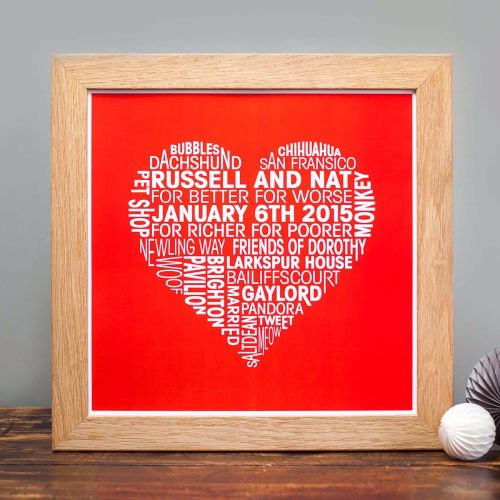 red background love heart personalised print
