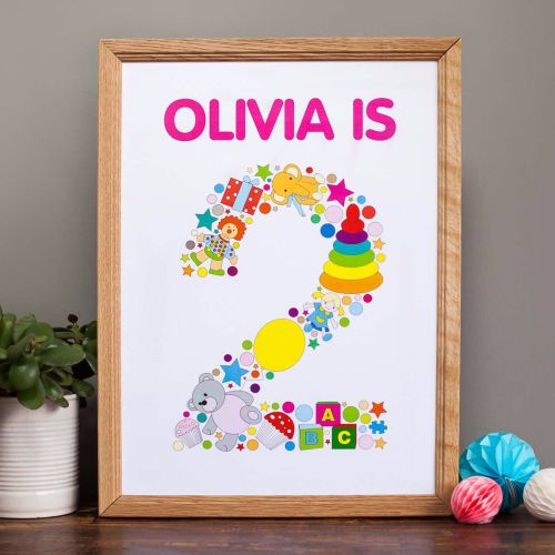 personalised childs 2nd birthday print for girls room or nursery (unframed)