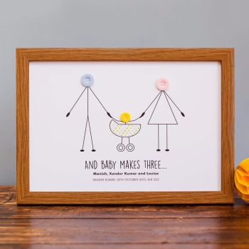 and baby makes three personalised print (unframed)