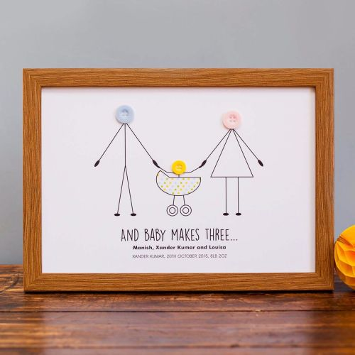 and baby makes three personalised print