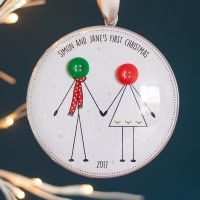 personalised new couple first christmas bauble