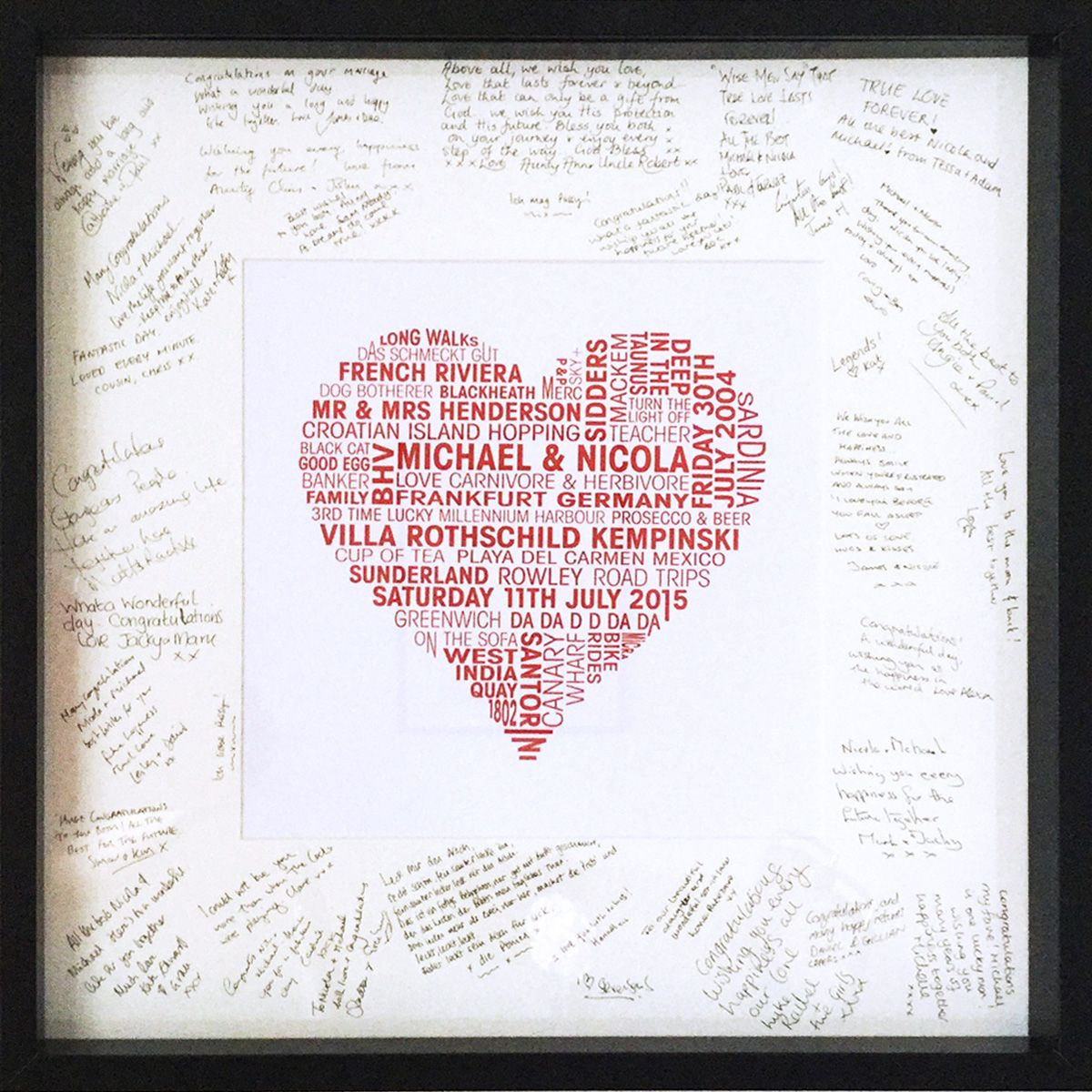 personalised love heart print for wedding day signing