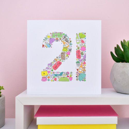 girlie things 21st birthday card