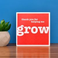'helping me grow' teacher card