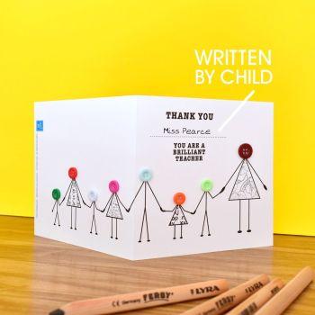 thank you teacher with children card
