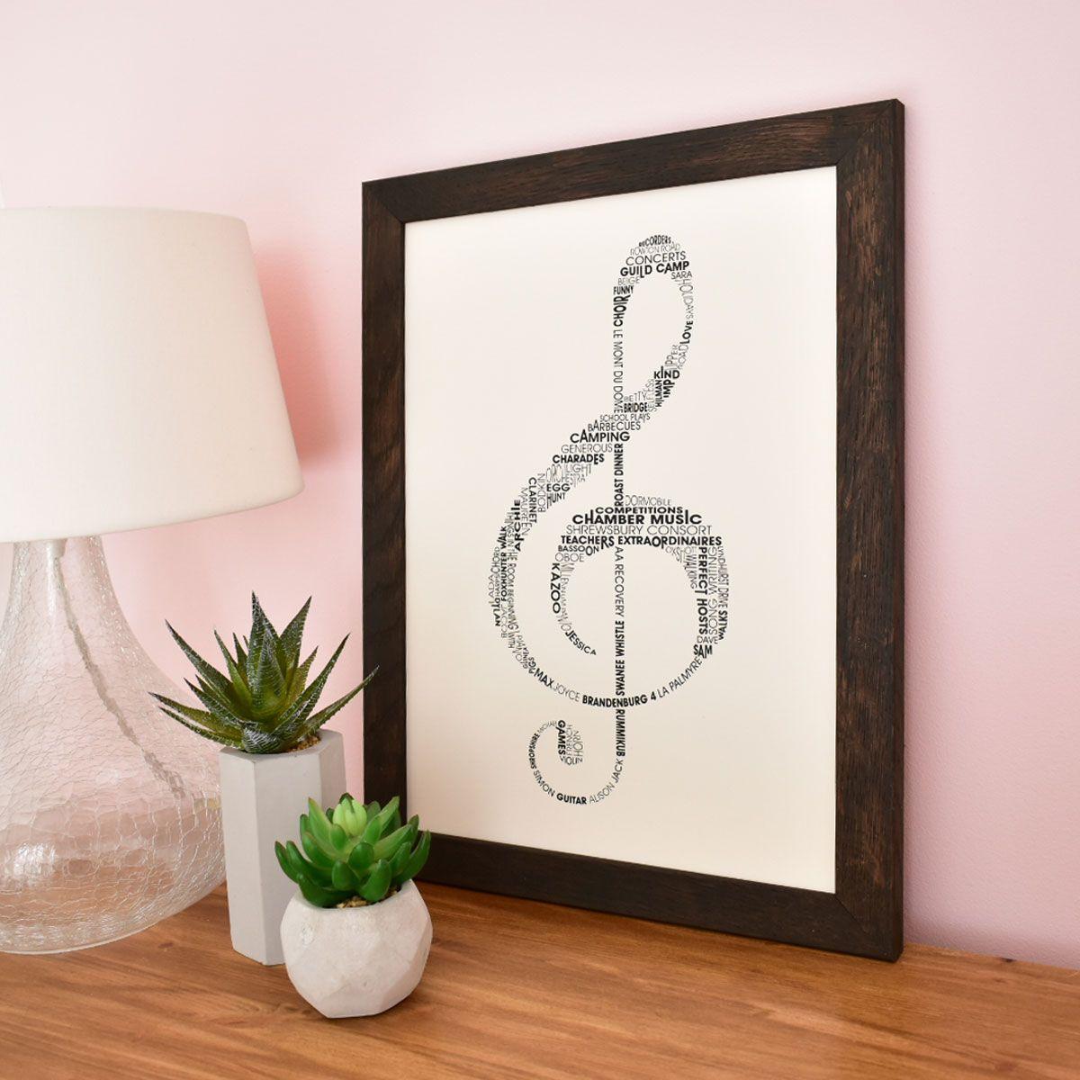 treble clef personalised typography print