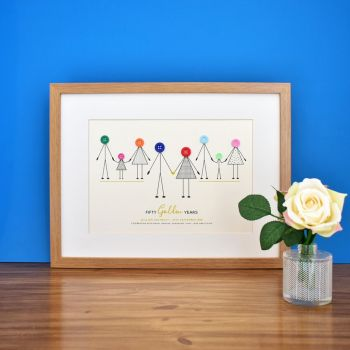personalised golden wedding anniversary print