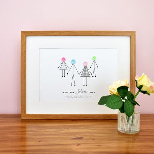 personalised silver wedding anniversary print