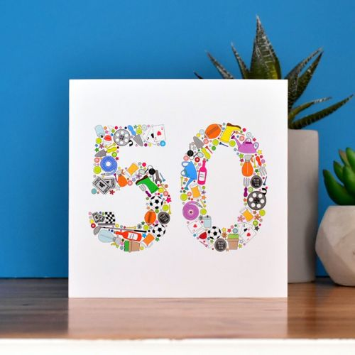 boys things 50th birthday card