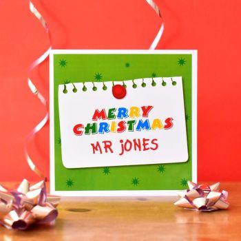 personalised teacher christmas card