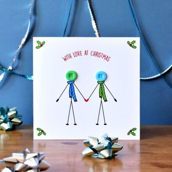 christmas couple in love card - 2 males