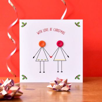 christmas couple in love card - 2 females