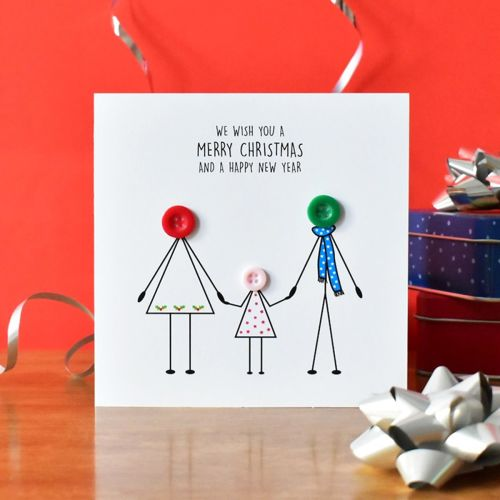 personalised family christmas card - 1 girl