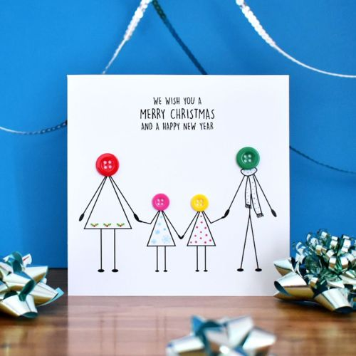 personalised family christmas card - 2 girls