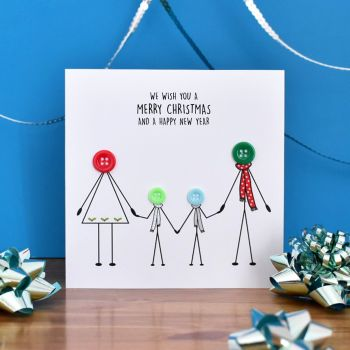 personalised family christmas card - 2 boys