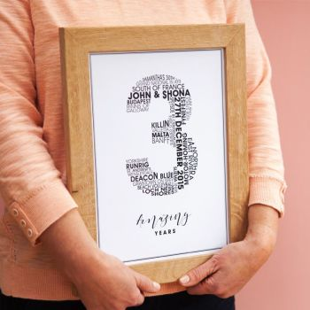 small personalised wedding anniversary print (unframed)