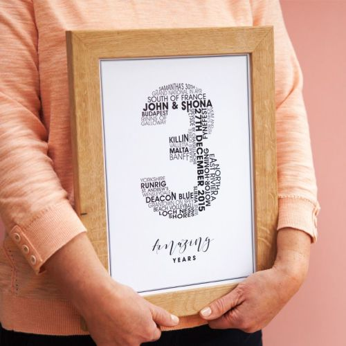small 3rd personalised wedding anniversary print (unframed)