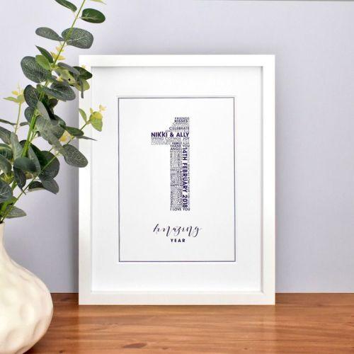 large 1st personalised wedding anniversary print (unframed)