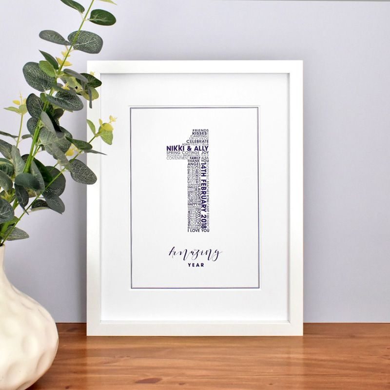 large 1st personalised wedding anniversary print (unframed)