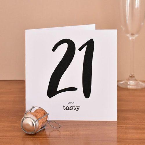 21 and tasty black type birthday card