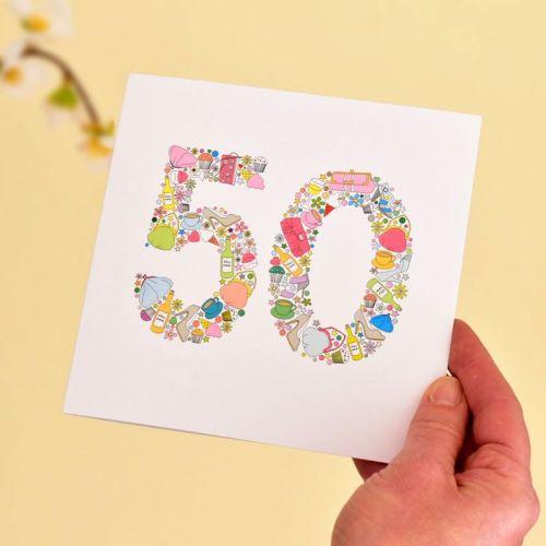 girlie things 50th birthday card