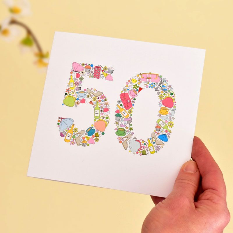 girlie things 50th birthday card