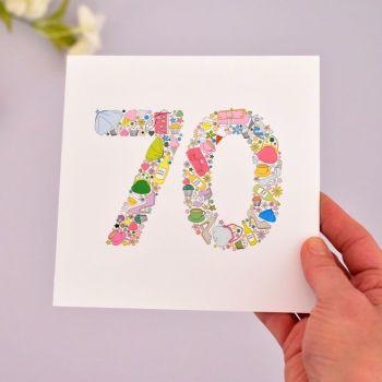 girlie things 70th birthday card