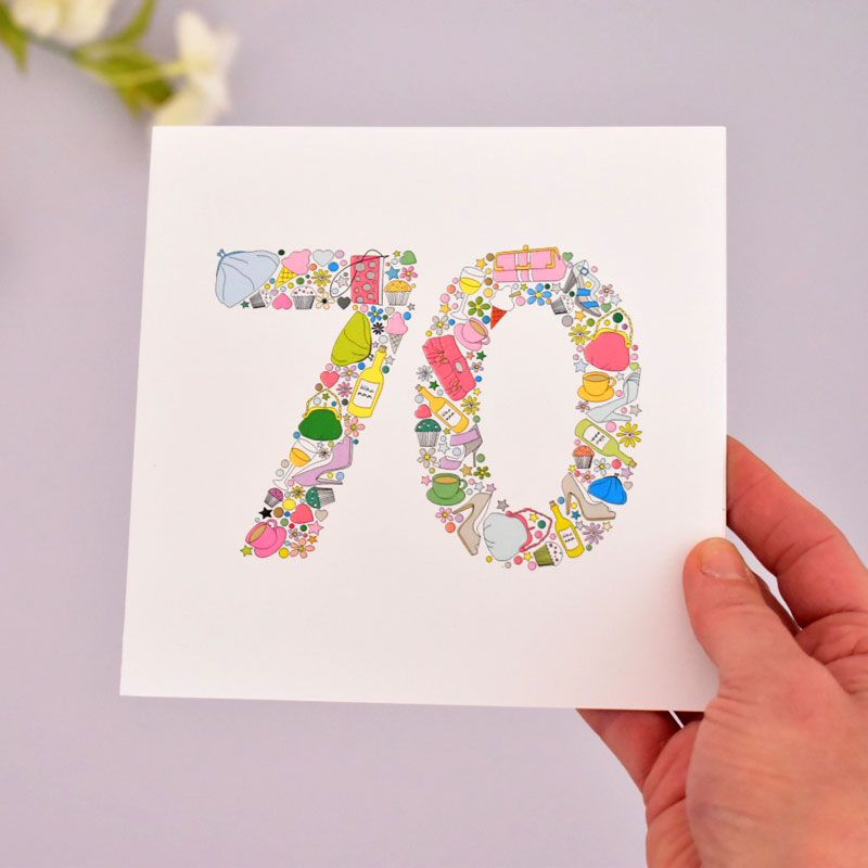 girlie things 70th birthday card