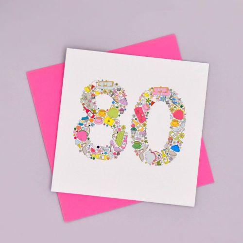 girlie things 80th birthday card