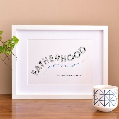fatherhood, the journey of a lifetime personalised print (unframed)