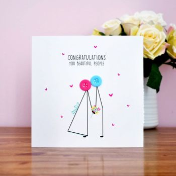 button people wedding congratulations card