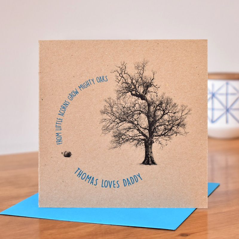 personalised 'from little acorns grow mighty oaks' card