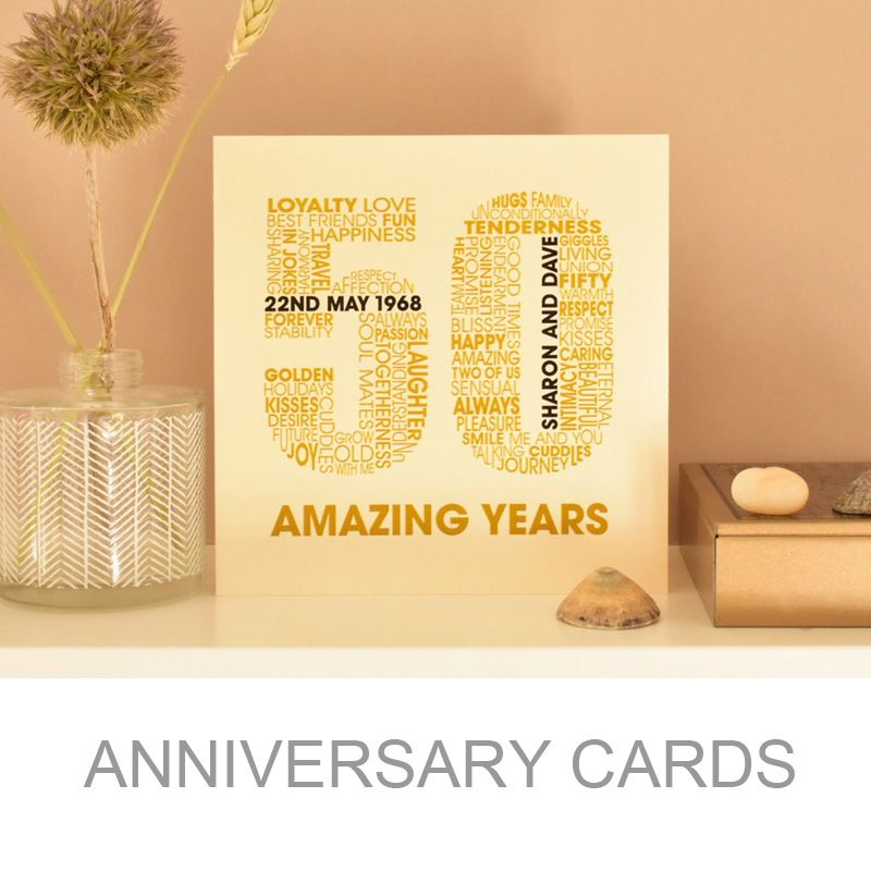 personalised wedding anniversry typographic card