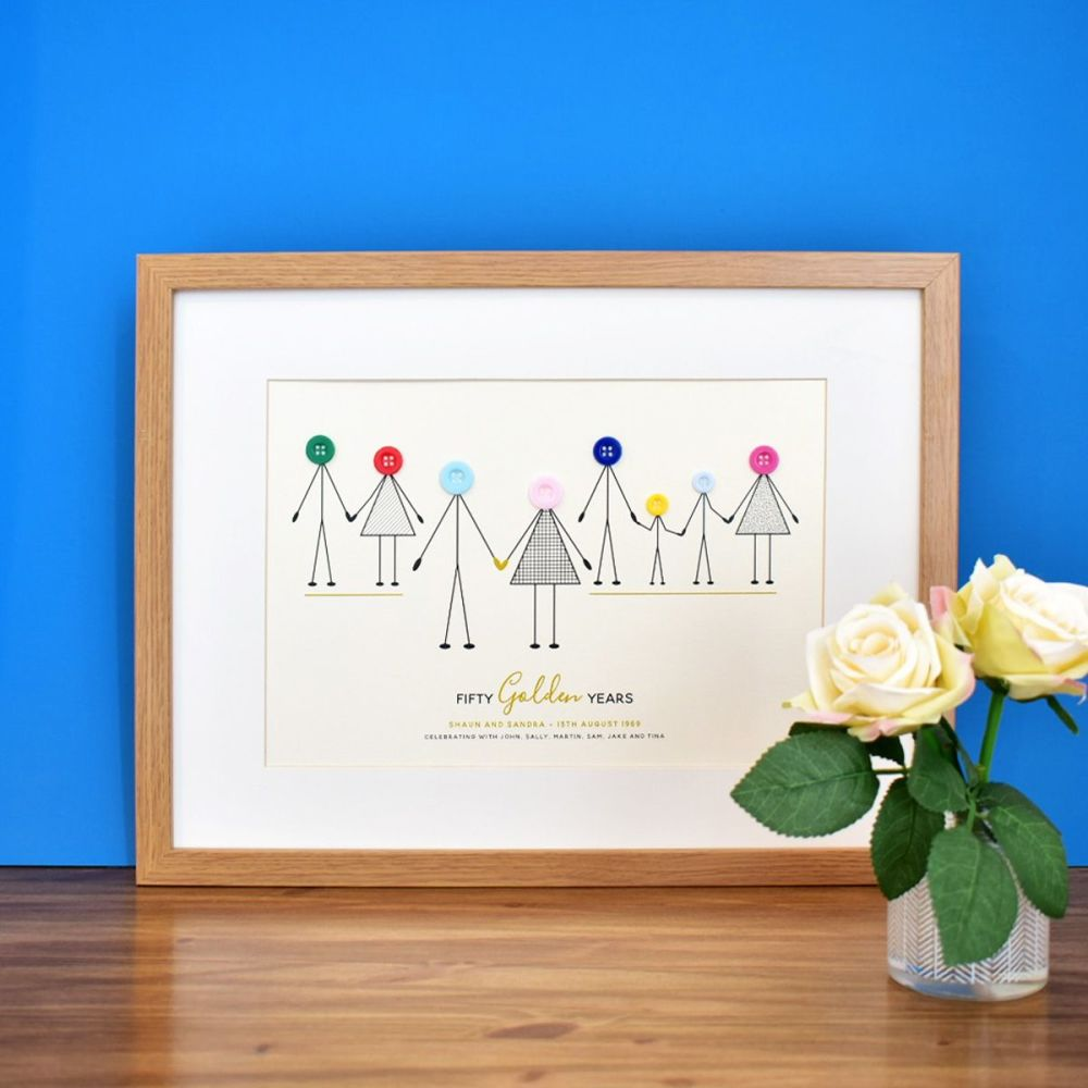 medium personalised golden wedding anniversary print (unframed)